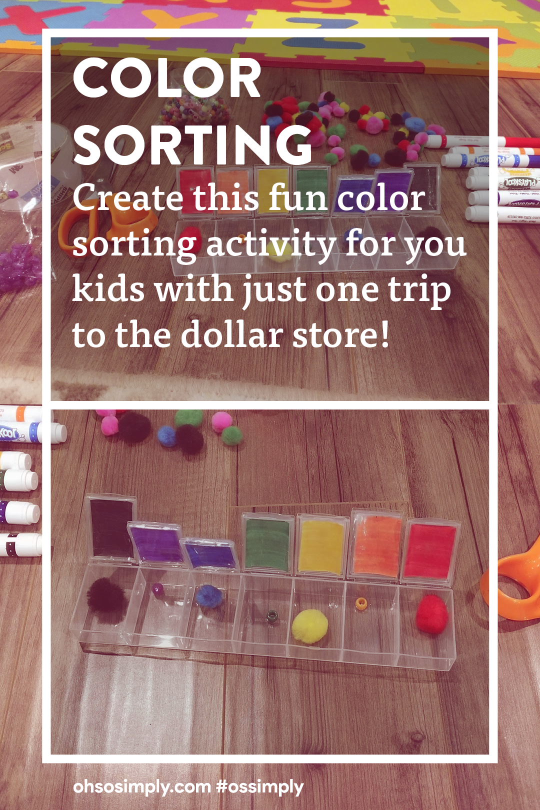 Color sorting. Create this fun color sorting activity for your kids with just one trip to the dollar store!