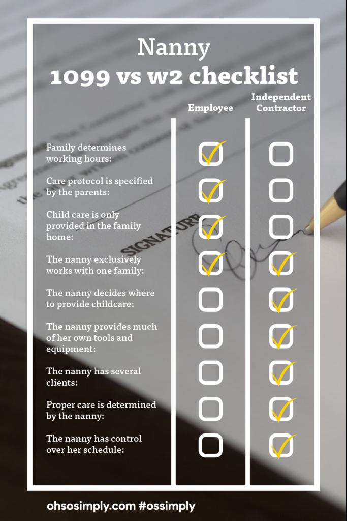 1099 vs w2 checklist